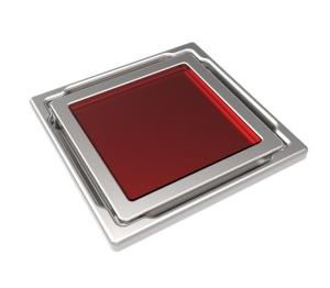 MERT Bodenablauf Flach mit Glasabdeckung rot