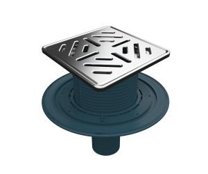 MERT Bodenablauf mit Edelstahlrost- und Rahmen Stripes (304)