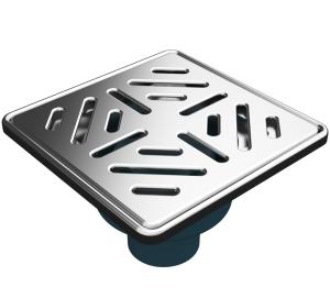 MERT Bodenablauf mit Edelstahlrost und Edelstahlrahmen Stripes (304), 150x150 mm
