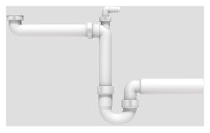 SANIT Raumschaffer G1 1/2x50 mit Rohrgeruchverschluss und Geräteanschluss