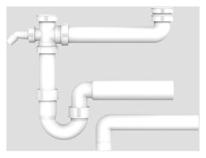 SANIT Ablaufverbindung G1 1/2x40/50x295 mit Rohrgeruchverschluss