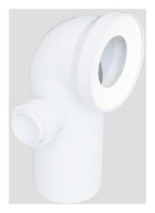 Sanit WC-Anschlussbogen DN100 90° weiß Anschluss seitlich DN50 links