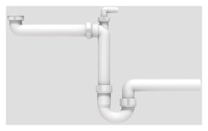 SANIT Raumschaffer G1 1/2x40 mit Rohrgeruchverschluss und Geräteanschluss