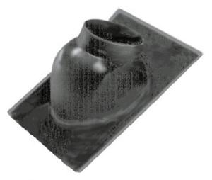 Wolf Dachplatte für Schrägdach mit 25° - 45° Neigung mit Adapter für Luft-/Abgasführung senkrecht (Variante: schwarz)