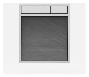 SANIT Betätigungsplatte LIS ohne Beleuchtung Grundplatte Schiefer grau Tastenpaar mattchrom