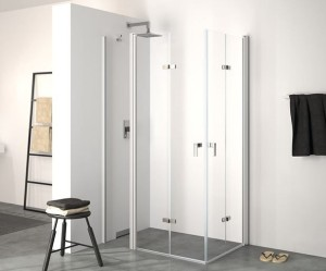 Hüppe Design elegance 4-Eck Schwingfalttür mit festem Segment Linksbefestigung