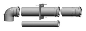 Wolf Anschluss-Set an Abgasleitung für Schachteinbau als Bausatz DN80/125, steckbar,raumluftabhängig