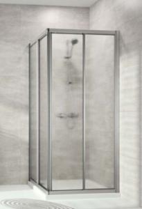 Hüppe Alpha 2 4-Eck Gleittüreckeinstieg 2teilig Kunstglas