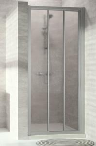 Hüppe Alpha 2 4-Eck Gleittür 2teilig mit festem Segment Kunstglas