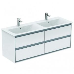 Ideal Standard Connect Air Möbel-Doppelwaschtisch Unterschrank 1300 mm 4 Auszüge (Dekor: Weiß glänzend/Hellgrau matt)