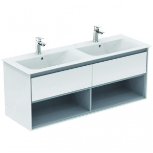 Ideal Standard Connect Air Möbel-Doppelwaschtisch Unterschrank 1300 mm (Dekor: Hellgrau glänzend/Weiß matt)