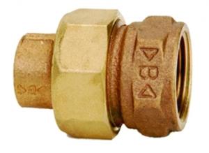 RG-Löt-Verschraubung, flachdichtend, mit Innengewinde und Innenlötende (Abmessung dxRp: 15x1/2)