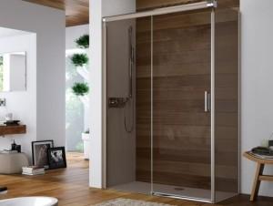 Hüppe Design elegance 4-Eck Gleittür 1teilig mit festem Segment Linksbefestigung