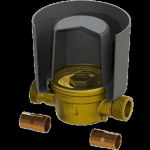 Deltamess Unterputz-Einbausatz für Wasserzähler Messing - G¾ AG x 15/18 mm löt x 110 mm
