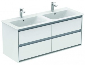 Ideal Standard Connect Air Möbel-Doppelwaschtisch Unterschrank 1200 mm 4 Auszüge (Dekor: Weiß glänzend/Weiß matt)