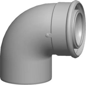 Wolf Bogen für Luft-/Abgasrohr, weiß, steckbar (Variante: DN60/100  87°)