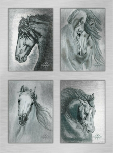 Poster-Set Horses - Silver Edition