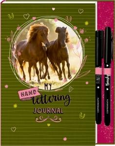 Pferdefreunde -  My Handlettering Journal mit Schablone und Stiften