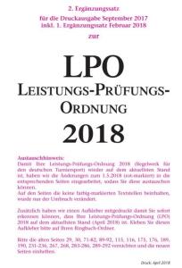 Leistungs-Prüfungs-Ordnung (LPO) 2018, 2.Ergänzungssatz 2018