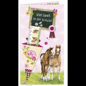 Pferdefreunde Grußkarte - Viel Spaß in der Schule!