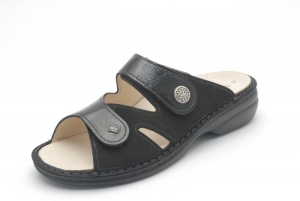 FinnComfort Pantolette TORBOLE schwarz Nubuk/Knautschlack (Größe: 42)
