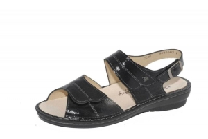 FinnComfort Damen-Sandale Barca Schwarz Knautschlack (Größe: 37)