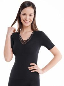 Medima Classic  Damen-Hemd  1/4 Arm mit Spitze 20%  Angora schwarz (Größe: S)