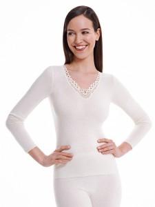 Medima Classic  Damen-Hemd  1/1 Arm mit Spitze 20%  Angora weiß (Größe: S)