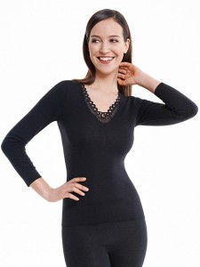 Medima Classic  Damen-Hemd  1/1 Arm mit Spitze 20%  Angora schwarz (Größe: S)