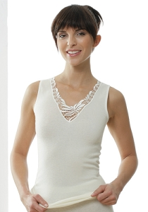 Medima Classic Damen-Hemd ohne Arm mit Spitze 20%Angora, weiß (Größe: S)