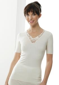 Medima Classic  Damen-Hemd 1/4 Arm mit Spitze 20%Angora, weiß (Größe: S)