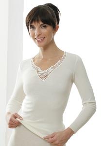Medima Classic  Damen-Hemd 1/1 Arm mit Spitze 20%  Angora, weiß (Größe: S)