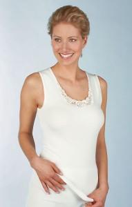Medima Classic  Damen-Hemd ohne Arm mit Spitze 20%  Angora weiß (Größe: S)