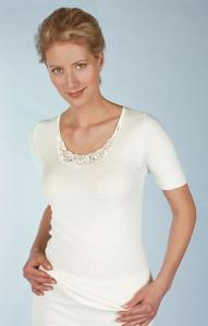 Medima Classic  Damen-Hemd  1/4 Arm mit Spitze 20%  Angora weiß (Größe: S)