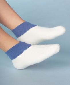 Medima Classic Fußwärmer mit extra weitem Bündchen, weiß/aqua (Größen: S)
