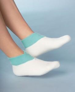 Medima Classic Fußwärmer mit extra weitem Bündchen, weiß/türkis (Größen: S)