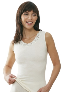 Medima Classic  Damen-Hemd  ohne Arm mit Spitze Plus Seide weiß (Größe: S)