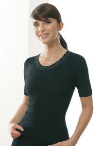 Medima Classic  Damen-Hemd 1/4 Arm mit Spitze Plus Seide schwarz (Größe: S)