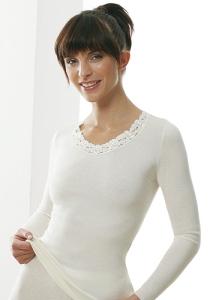 Medima  Classic Damen-Hemd 1/1 Arm mit Spitze Plus Seide, weiß (Größe: S)