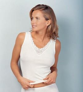 Medima Classic Damen-Hemd ohne Arm Plus Seide weiß mit Spitze (Größe: S)