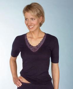 Medima Classic  Damen-Hemd 1/4 Arm Plus Seide schwarz mit Spitze (Größe: S)