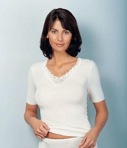 Medima Classic Damen-Hemd 1/4 Arm Plus Seide weiß mit Spitze (Größe: S)