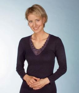 Medima Classic Damen-Hemd 1/1 Arm Plus Seide schwarz mit Spitze (Größe: S)