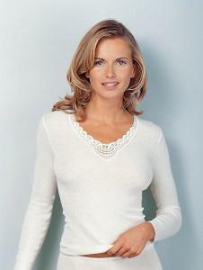 Medima Classic Damen-Hemd 1/1 Arm Plus Seide weiß mit Spitze (Größe: S)