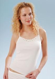 Medima  Classic Damen-Trägerhemd Plus Seide weiß mit Spitze (Größe: S)