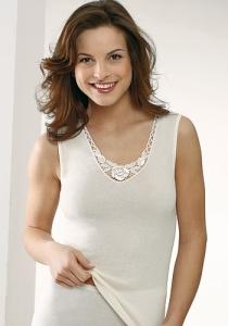 Medima Lingerie Kaschmir/Seide Damen-Hemd ohne Arm mit Spitze weiß (Größe: S)