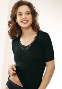 Medima Lingerie Kaschmir/Seide Damen-Hemd 1/4 Arm mit Spitze schwarz (Größe: S)