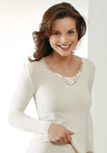 Medima Lingerie  Damen-Hemd 1/1 Arm mit Spitze Kaschmir/Seide weiß (Größe: S)