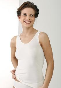 Medima Lingerie  Damen-Hemd ohne Arm 100% Seide weiß (Größe: L)