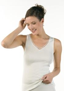 Medima Lingerie  Damen-Hemd ohne Arm, mit Motiv 100% Seide weiß (Größe: L)